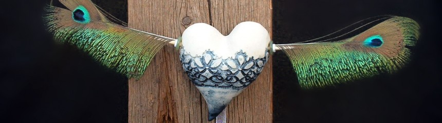 Flying heart peacock detail