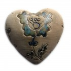 Heart flower imprint blue