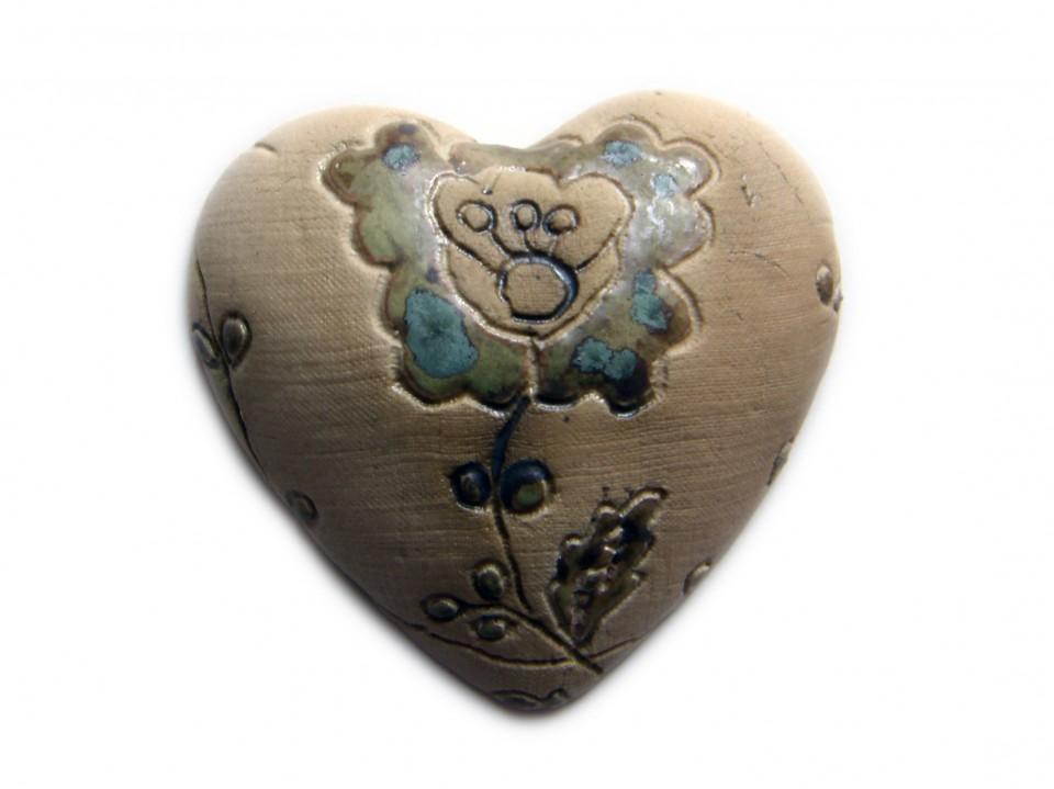 Heart flower imprint blue